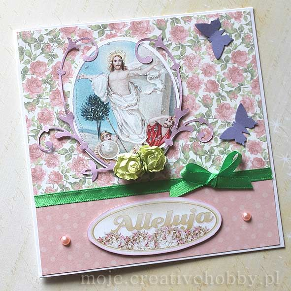 Piękna kartka wielkanocna wykonana w technice cardmaking.