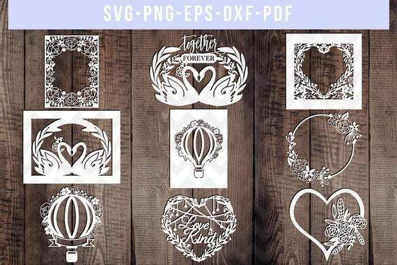 bundle of 9 floral wedding papercut templates, wed…