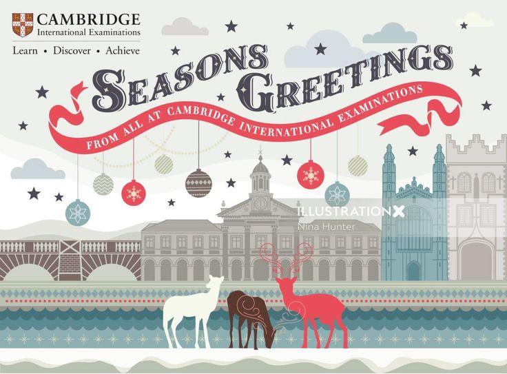 graphic design of cambridge university christmas card in