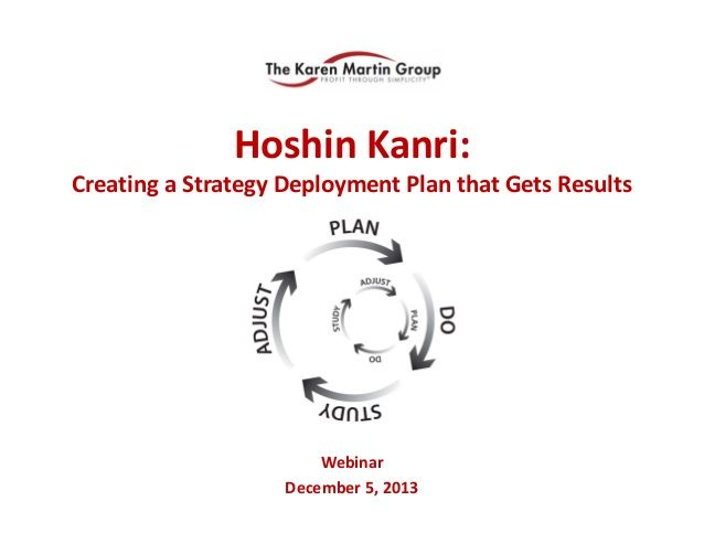 Hoshin Kanri: Creating a Strategy Deployment Plan That Gets Results  by The Karen Martin Group, Inc.  via slideshare