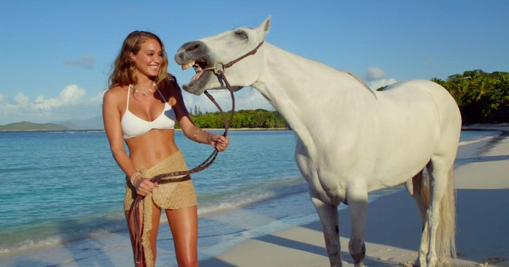 Talking to Horses is So Hot Right Now: Kaley Cuoco-Sweeting & Hannah Davis Kick Off New Trend Some trends make sense—skinny jeans, ombre hair, full eyebrows, etc etc. Others make none whatsoever, but are awesome anyway. We're going to put talking to horses in the latter category. First, there was swimsuit model (and Derek Jeter's GF) Hannah Davis's DirecTV commercials, some of which featured Davis hanging out on an exotic beach with a white horse who, inexplicably, had the power to speak……