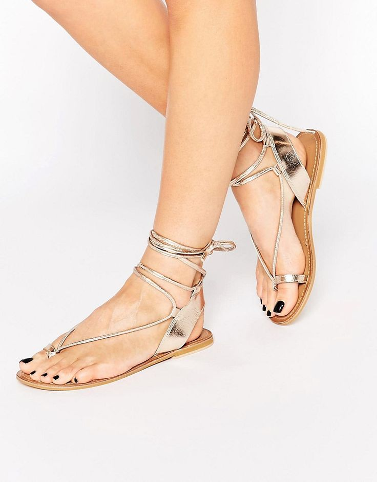 NEW ASOS FEATURE LEATHER TIE UP ANKLE FLAT SANDALS BLACK BEACH HOLIDAY BOHO LOOK