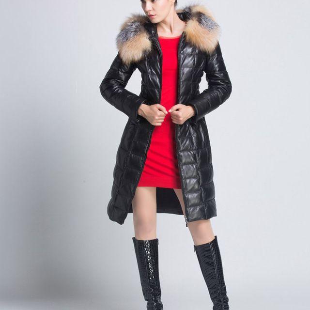 Inverno preto 98 CM de Comprimento Material de Pano Moda Feminina Casaco de Pele de Ovelha Com Material de Pele De Raposa Gola de pele Genuína Para Baixo Parkas FQ13060-6