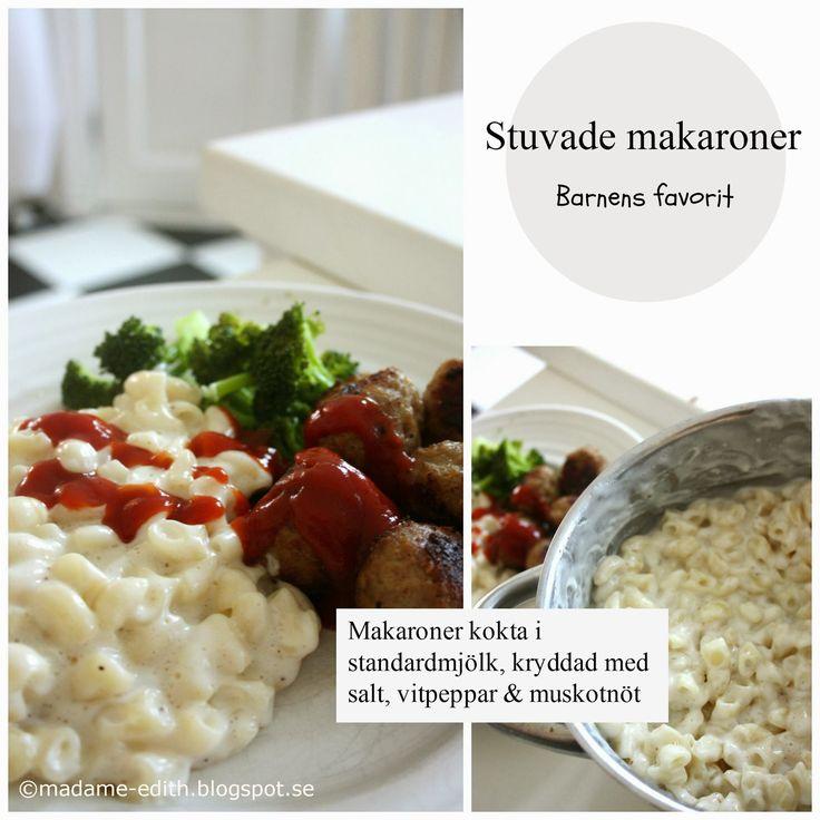 Stuvade makaroner - 4-5 port   Gott till stekt falukorv eller hemlagade köttbullar ( RECEPT HÄR >> )     Recept   5 dl makaroner   (Använ...