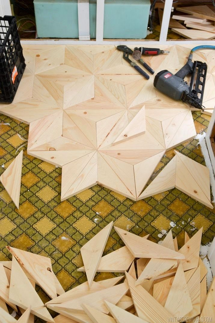 Cool! DIY Geometric Wood Floor