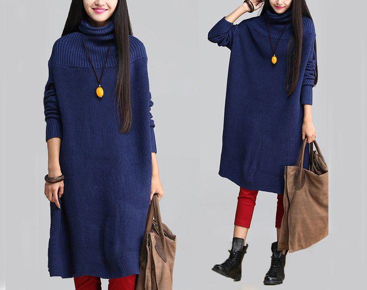 Blue Turtleneck Knit Bat Shirt Sweater -34 from MissJuan by DaWanda.com Love love love!