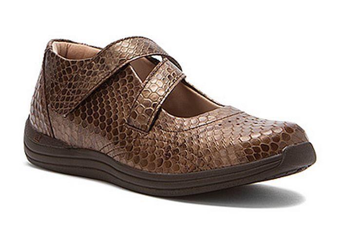 Drew Women's Orchid Casual Velcro Strap Mary Jane Orthopedic Shoes Bronze  Print #Drew #MaryJanes