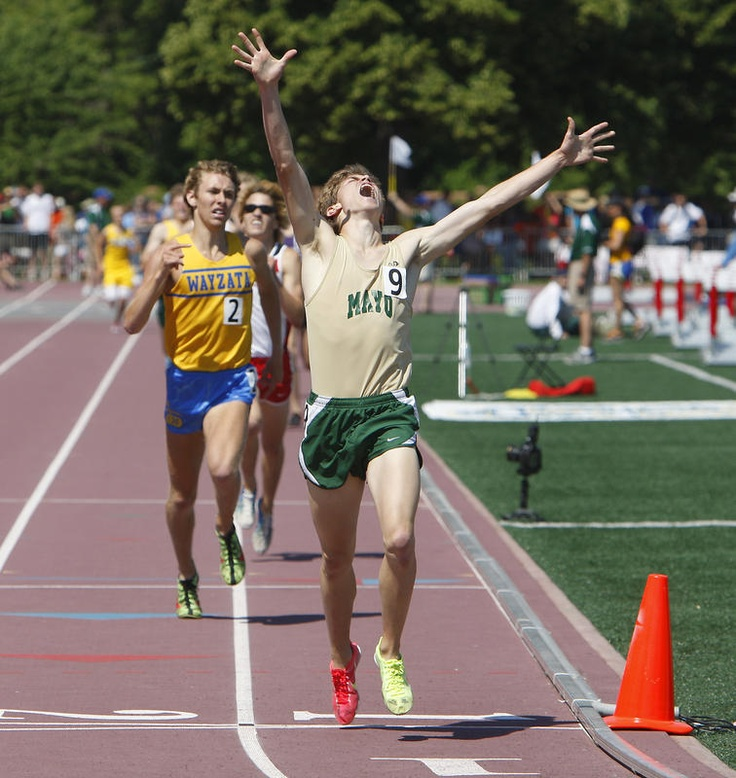 Riley Macon of Mayo High School wins the 1600-meter race in the state Class AA track and field meet Saturday