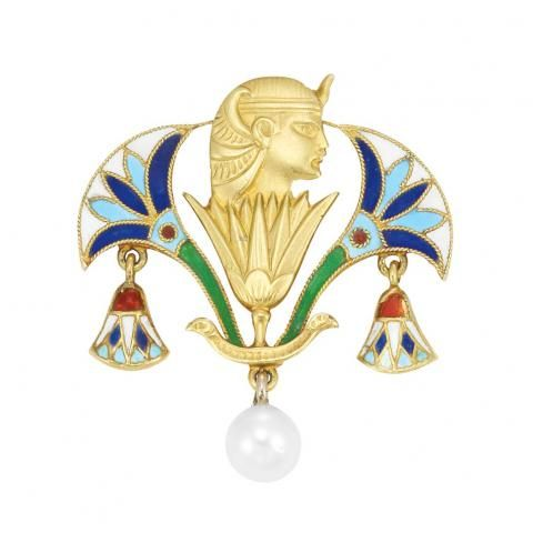 Egyptian Revival Gold, Enamel and Pearl Pin for Sale at Auction on Wed, 04/21/2010 - 07:00  - Important Estate Jewelry | Doyle Auction House