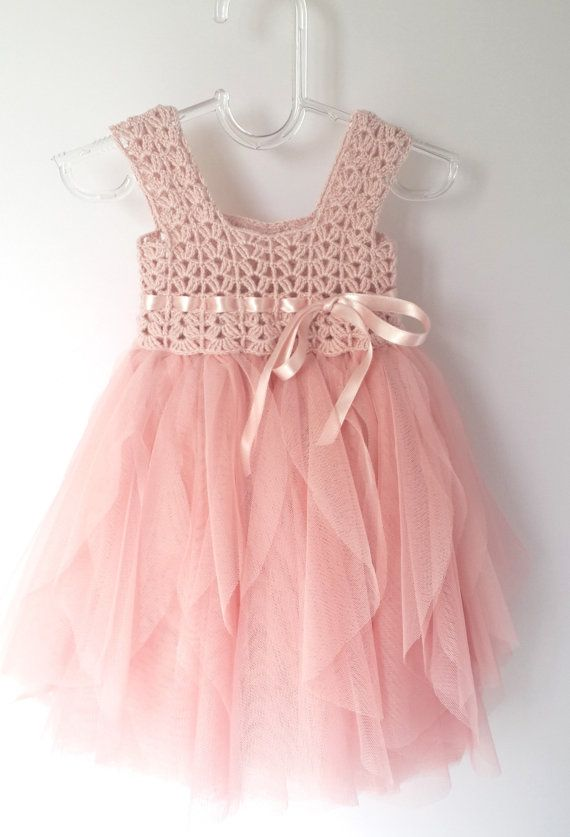Pale Pink Baby Tulle Dress with Empire Waist and Stretch Crochet Top.Tulle dress for girls with lacy crochet bodice.