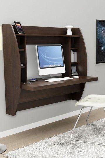 Floating Desk with Storage - Espresso