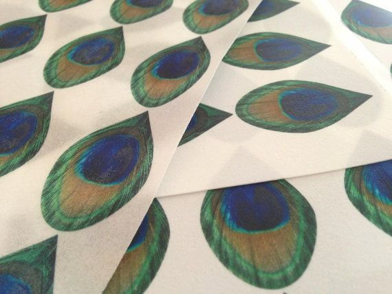 25 Edible Peacock Feathers YOU CUT OUT on Edible Wafer Paper 25 Per Sheet