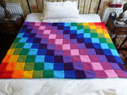 knittedcreations: Handmade Knitted Rainbow Blanket by ...