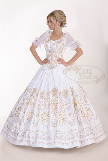 From the new collection of http://www.katiszalon.hu/.  A beautiful wedding dress with hungarian motifs.