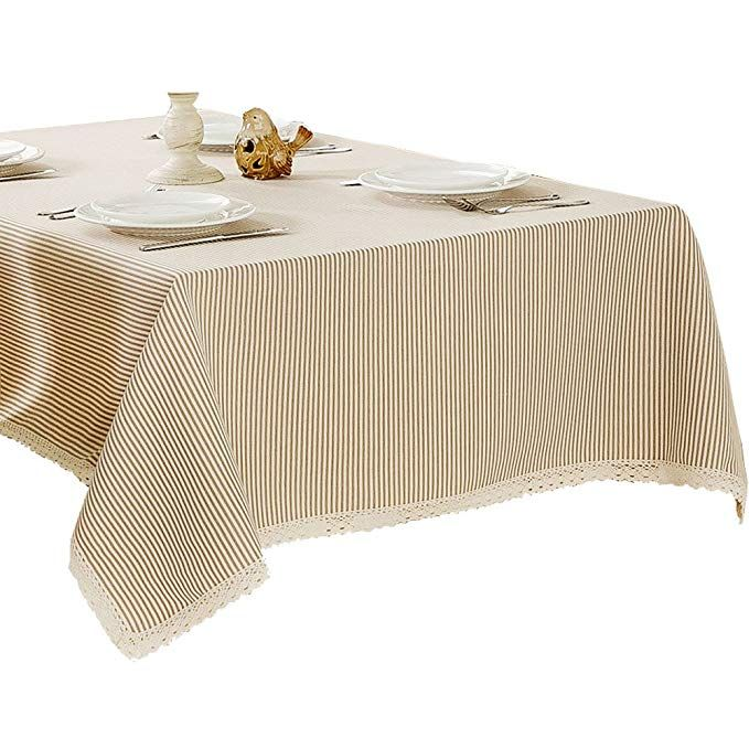 R Lang Stripe Spillproof Heavy Weight Fabric Tablecloth 60 X 144