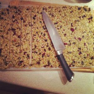 Annabel Langbein Birdseed bars. Add peanuts, almonds, raisins. Leave out raw sugar