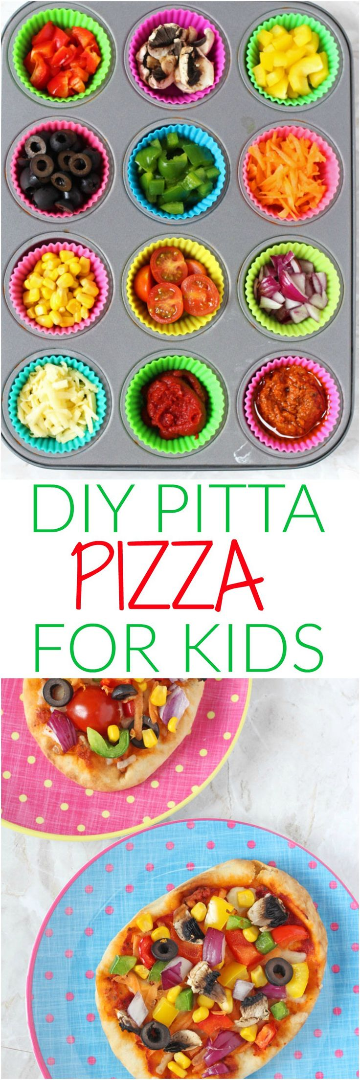Get the kids involved in making their own meals with these super easy DIY Pitta or Naan Bread Veggie Pizzas!   My Fussy Eater blog