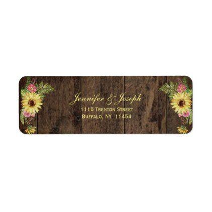 Sunflower Rustic Wedding Return Address Label - spring wedding diy marriage customize personalize couple idea individuel