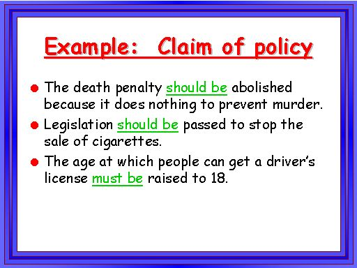 Example Claim Of Policy Essay Examples Essay Topics