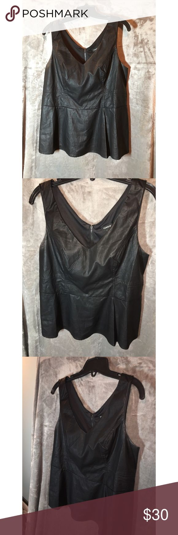 Faux Leather Peplum Top Zipper works fine! Torrid size 0 (also sized as: L or 12) torrid Tops Tank Tops
