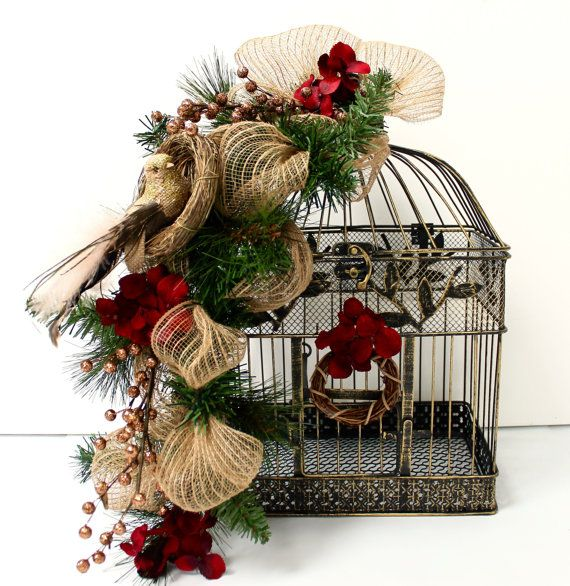 SALE Christmas Decorations Christmas Birdcage by TheLaceMoon
