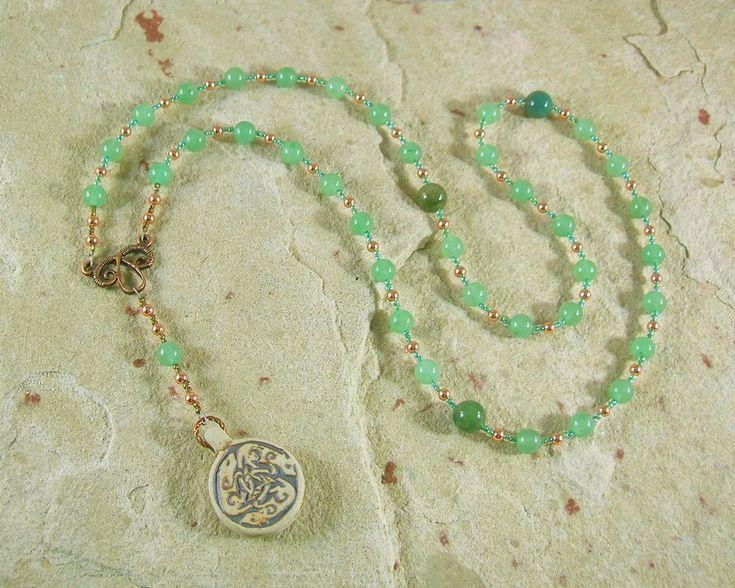 Frey Prayer Bead Necklace in Green Aventurine: Norse God of Fertility, Abundance, Prosperity