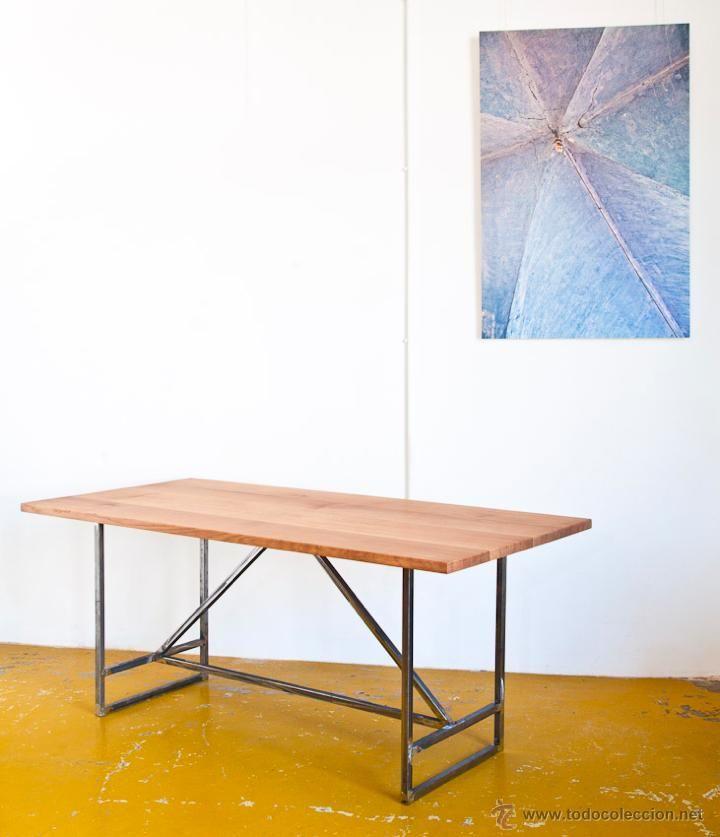 Mesa a medida. Estructura de hierro y sobre de roble macizo - Foto 1