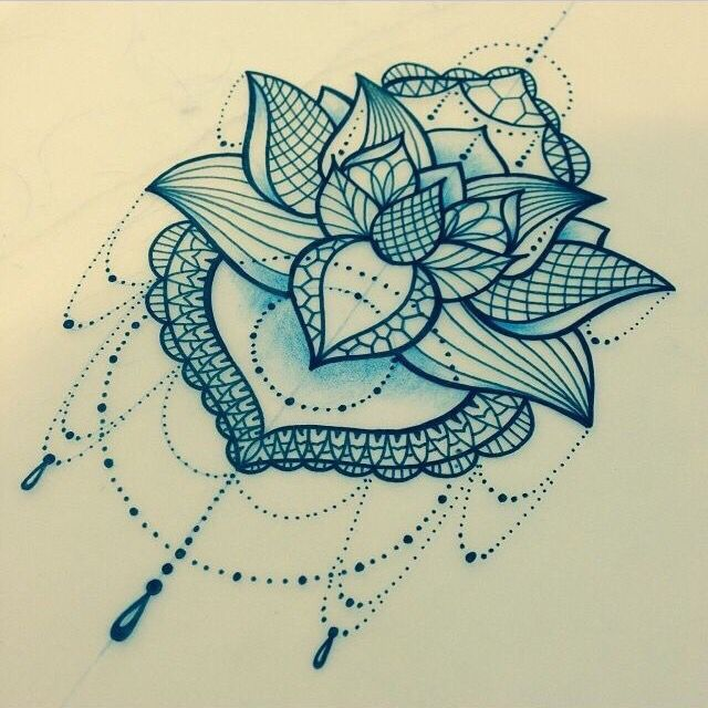 Lace lotus tattoo design