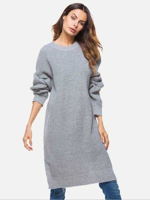 9e1da383981 Vinfemass Solid Color Loose Slit Side Sweater Dress in 2019 ...