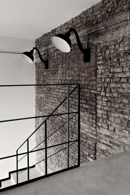 #space #industrial #brick #wall #industrial #lamp #stairs