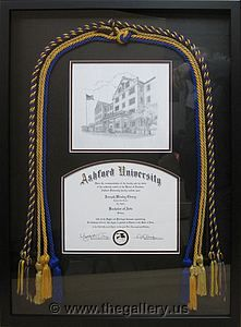 Shadow box with diploma with tassels                       The Gallery at Brookwood www.thegallery.us 770-941-3394 Your Custom Framing Expert