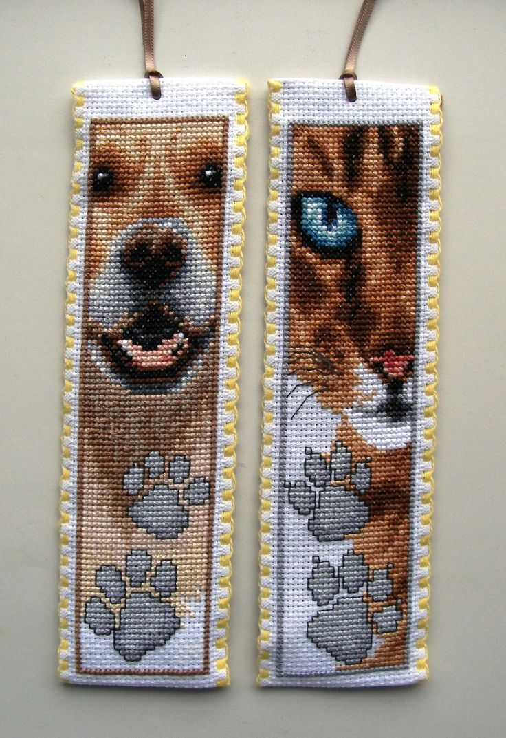 Vervaco cross stitch bookmarks-Cat & Dog.