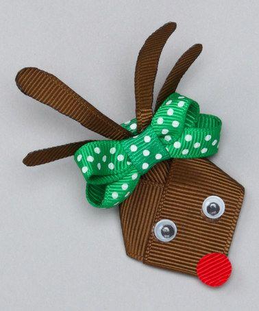 Loving this Green & Brown Reindeer Clip on #zulily! #zulilyfinds