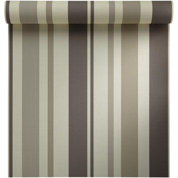 Papier peint vinyle sur intiss� INSPIRE Rayure, brun taupe n�3, larg. 0.53 m