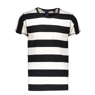 Scotch & Soda yarn dyed stripe tee, Black, medium