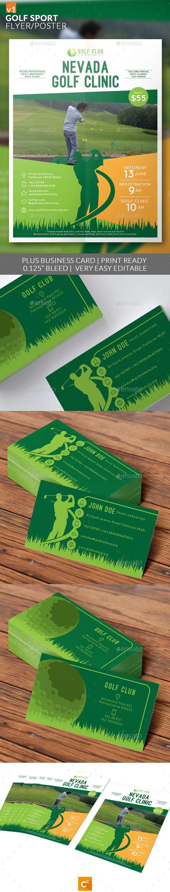 Golf Sport Flyer/Poster by CreativeComplex Golf Sport Flyer/Poster Flyer design template made on sport or golf theme with simple contents. The artwork contains golfer silhou -> Für Golf SALE und Golf Bestseller klicken!