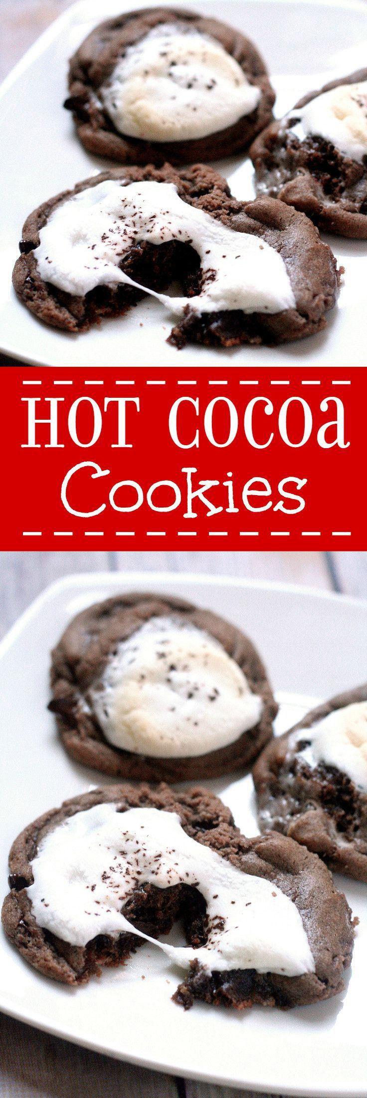Hot Cocoa Cookies replicate the delightful feeling of a warm cup of cocoa on a cold day, with warm and gooey chocolate cookies topped with a toasted marshmallow.