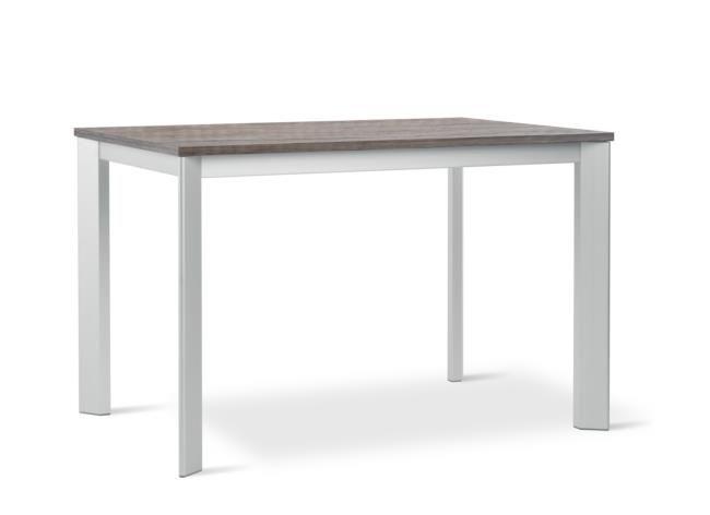 Tavolo allungabile in metallo con piano e allunga in melaminico.