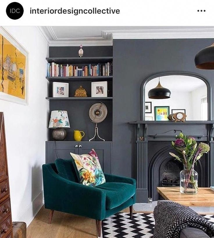Self Coloured Shelving Makes The Feature Wall Less Cluttered Homelivingroomdecor Victorian Living Room Victorian Living Room Decor Feature Wall Living Room