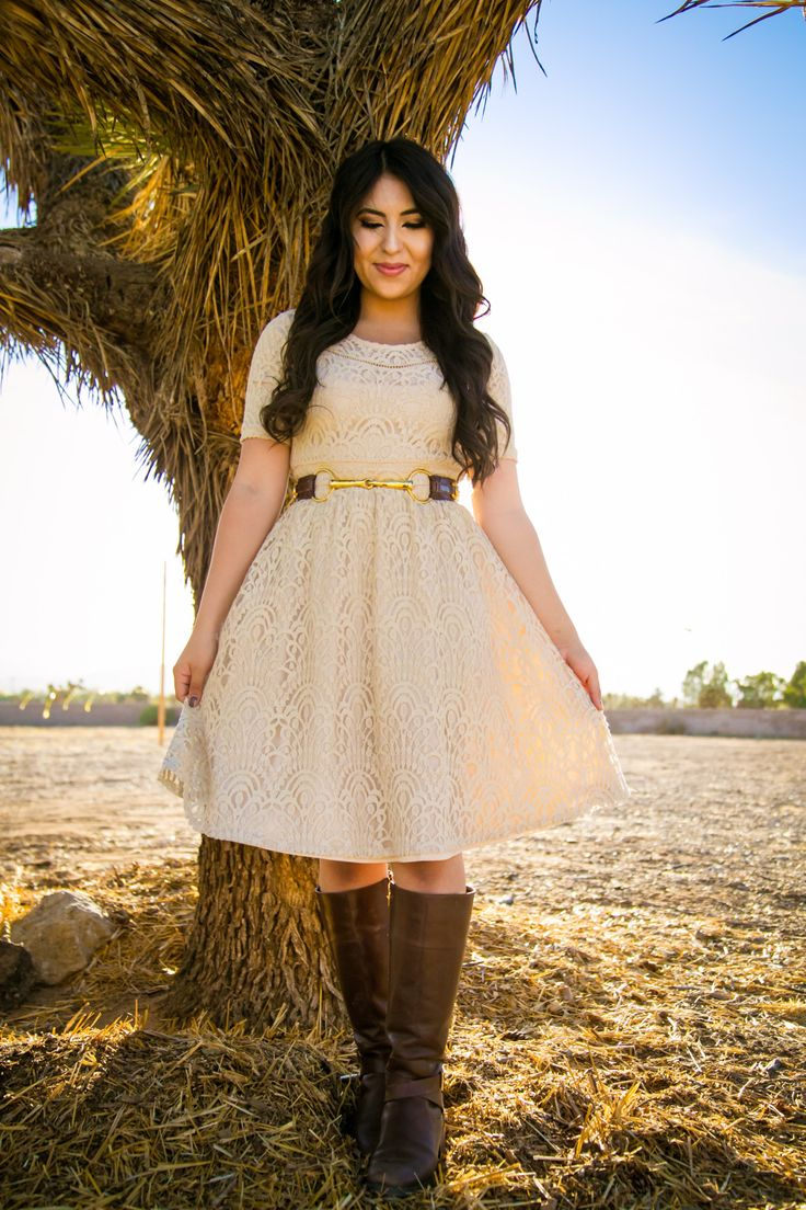 Modest Lace dress and boots! Modest spring and summer outfits!