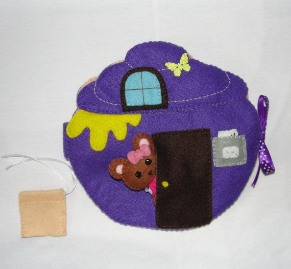 Zoe bear jar house book felt bear felt dollhouse by NitaFelt