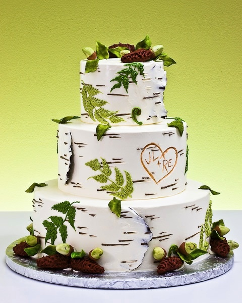 birch tree forest wedding cake. needs two birds on top though :]