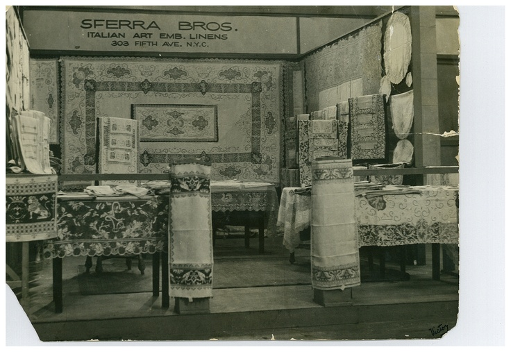This shot of our old NYC showroom reveals a glimpse of past linen design trends.
