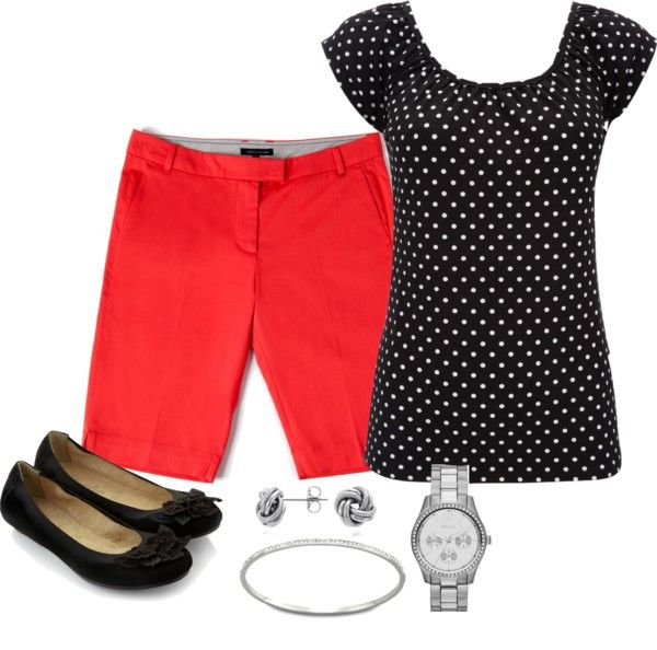 """""""Black & White Polka Dot Top & Coral Bermuda Shorts"""" by theluckygirl on Polyvore"""
