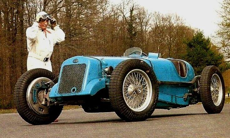 La Delage Formule Grand Prix, photo d'époque, cette ancienne voiture de course fut produite de 1926 à 1939 en une motorisation d'une cylindrée de 1.4 L présentant une puissance de 170 ch.