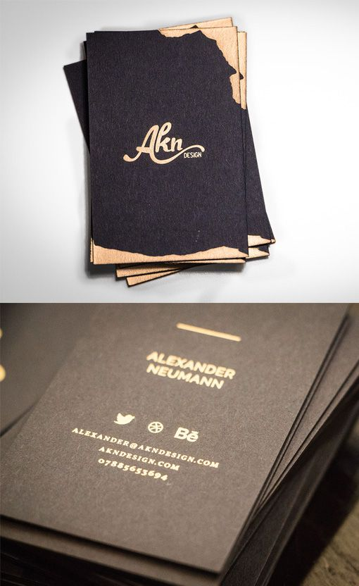 Freeform Gold Foiled Black Business Card For A Graphic Designer