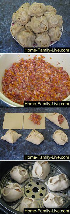 Кулинарные рецепты Манты с мясом и тыквой » Кулинарные рецепты