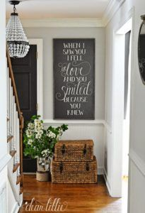 Benjamin Moore Moonshine shown in an entryway is good for a dark hallway or stairwell by Dear Lillie