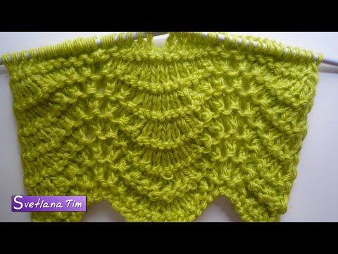 Павлиний Хвост (вариант2). Вязание спицами. Волнистый ажурный узор на спицах # 242 - YouTube