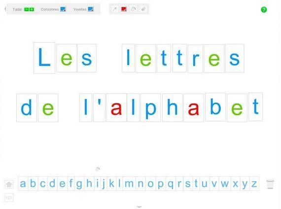 Voici une application pour jouer avec les lettres de l'alphabet, les mémoriser, les associer, les colorer etc...